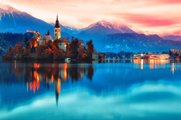 —keldredge7Of all Europe's breathtaking lake towns, this Slovenian vacation destination is something special with its emerald water and scenic town. The medieval castle backdrop is just the icing on the cake.
