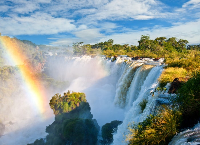 —rsh85These massive waterfalls, over 270 in total, form the boundary between Argentina and Brazil. The tallest of the falls, called Devil's Throat, cascades about 250 feet.