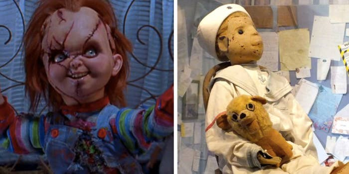 Chucky is based on a real toy: Robert the Doll. In the early 1900s, a Florida kid received Robert as a gift and soon learned it was a life-size voodoo doll. But unlike Chucky, it isn't possessed by the spirit of a serial killer. Now Robert sits in a glass case, but if you bother him, prepare to feel his wrath.—kararooney12