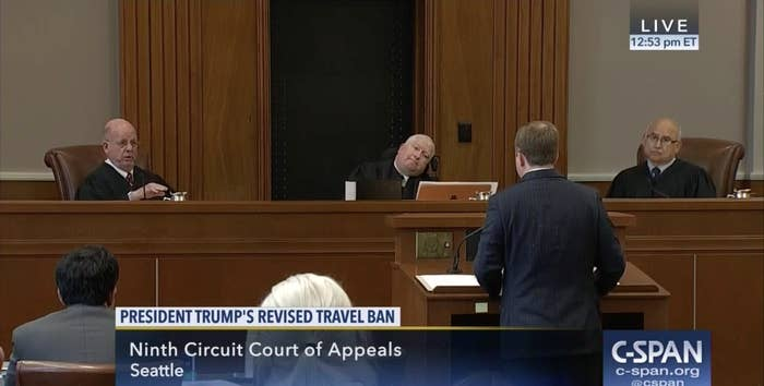 Acting Solicitor General Jeffrey Wall argues on Monday before Ninth Circuit judges (from left) Michael Daly Hawkins, Ronald Gould, and Richard Paez.