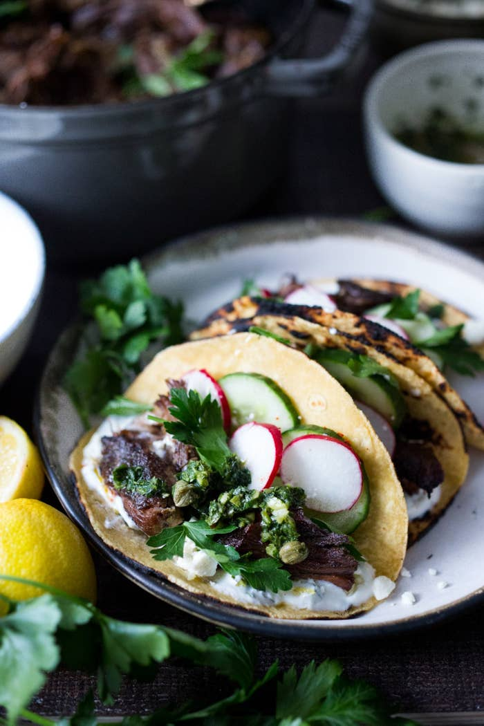 Greek food is a staple no matter where you go. Dive into Mediterranean bliss with this recipe, which combines Greek-style lamb in a Mexican-style taco.