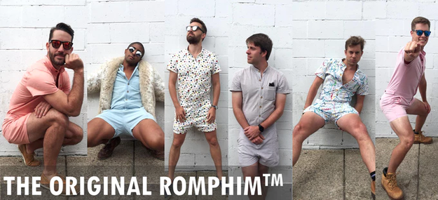 That's right, y'all — the RompHim is crashing into summer 2017 like the Kool-Aid guy, but with more sexy man thigh.