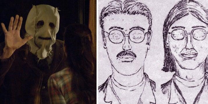 """The Strangers trata sobre una pareja que es acosada toda la noche dentro de su cabaña en el bosque por tres desconocidos enmascarados. Esta película terriblemente realista supuestamente está basada en los asesinatos de Keddie de 1981, un cuádruple homicidio sin resolver que ocurrió en una cabaña de los bosques de California. """"WHAT THE FUCK"""".—kelliet4 y a433"""