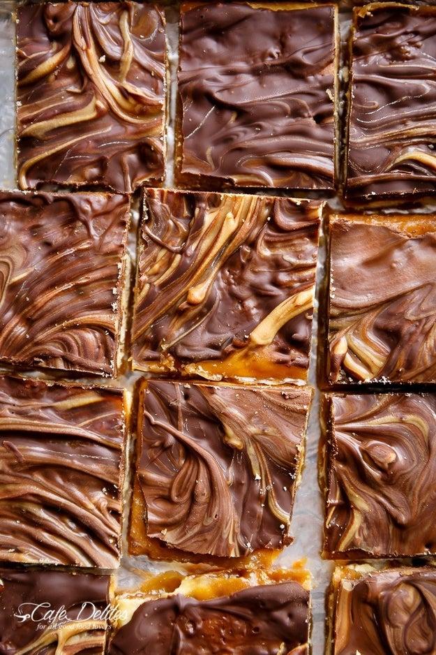 Peanut Butter Swirl Saltine Toffee