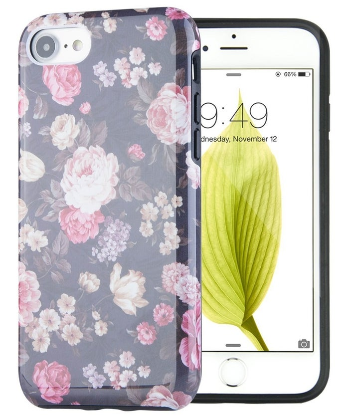 """Promising Review: """"I am absolutely in love with this case. The design on the back looks just like the picture and it has a thick, durable case so if I were to drop it, the case would hit the floor and not the screen. It also comes with a plastic screen protector!"""" –Amazon CustomerPrice: $9.99 (compatible with the iPhone 7)."""
