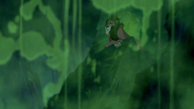 Meanwhile, in the eerie green chemical portion of the mountains, Scar is up to no good.
