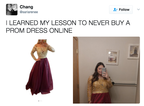 Tons of girls have shared pics of the stark difference between the dresses they thought they were buying and the ones that actually arrived.