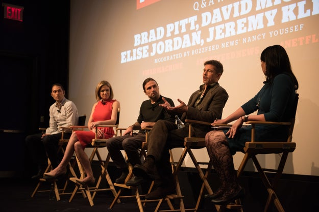 On Tuesday, Pitt answered questions about War Machine during a BuzzFeed News-presented screening and panel discussion.