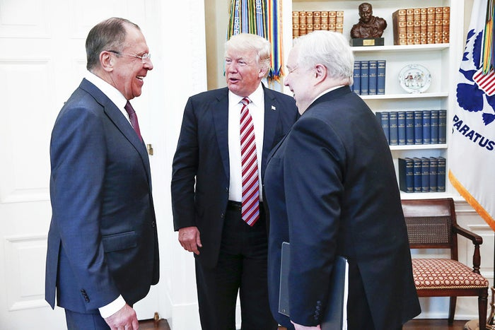 Trump meets with Sergey Lavrov, left, and Ambassador Sergey Kislyak on May 10