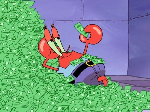 But also, HMMMMMMMM? Could it be...true? There's no denying Mr. Krabs has plenty of cash to spare: