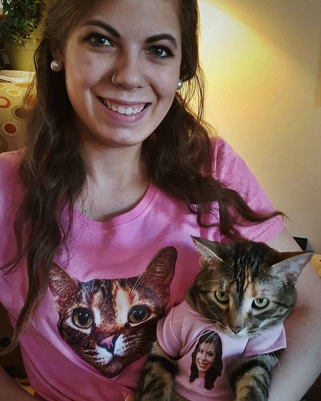 This lady and her cat with matching shirts OF EACH OTHER: