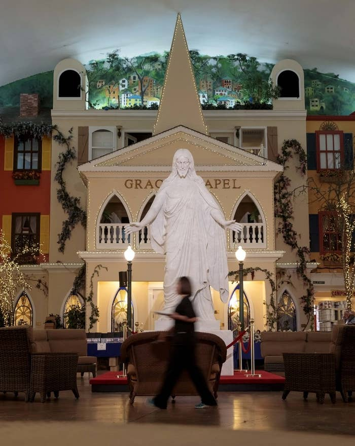 A 15-foot marble statue of Jesus Christ at Morningside's Grace Street.