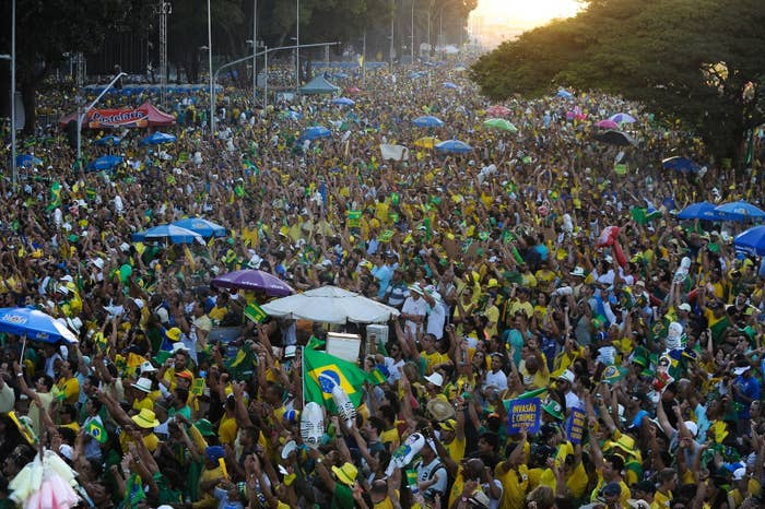 Activists supporting the impeachment of Dilma Rousseff.