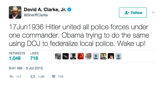 "For starters, in 2015 Clarke compared former President Obama to Hitler and called on people to ""wake up!"""