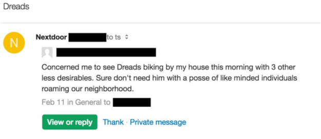"And here's a third example from Florida, shared on Twitter in February. Nextdoor's CEO responded to this post, saying in a tweet that the ""work in this area will never be done."""