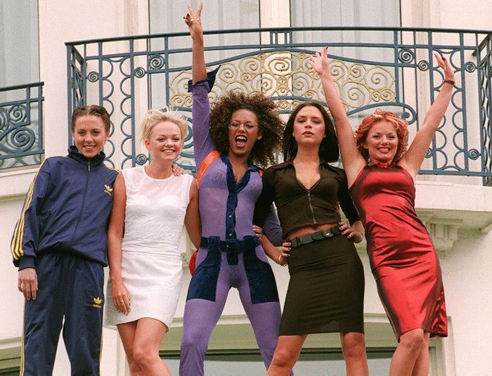 The Spice Girls pose for photographers in front of Cannes Martinez Hotel on May 11, 1997, during the 50th Cannes Film Festival.