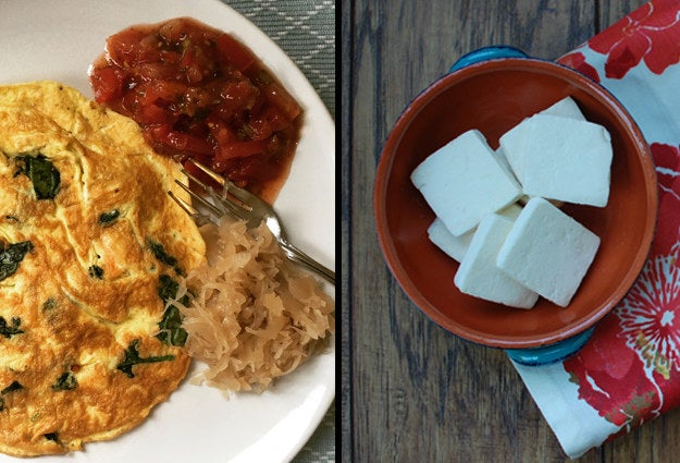 I'll make this omelet with white Nabulsi cheese, a sheep's milk cheese similar to halloumi that holds its shape when heated. It's sold in ethnic stores, but if you can't find it, add feta cheese instead after mixing in the eggs. I don't season with salt, because the cheese has enough and I don't want to be too thirsty during the day. While the eggs cook, I sip on at least one cup of water, if not two. I usually skip the bread and eat a half cup of berries or half an apple instead. I like to get my carbs from water-rich fruit, which helps hydrate my body to be ready for the fast. We have the eggs with salsa or fresh tomato slices. I'll add a couple of tablespoons of sauerkraut on the side, which contains good-for-you live cultures (probiotics). Here's my recipe:Omelet With Spinach, Mushrooms, and CheeseIngredients • 2 teaspoons olive oil, divided• ¼ cup Nabulsi white cheese cubes (or feta or your preferred shredded cheese)• 1 cup spinach, chopped• 1 cup sliced mushrooms• 4 eggs• Pepper to tasteHeat 1 teaspoon of the oil on medium heat. Olive oil will not go bad if used with low-medium heat for a quick sauté like making eggs. Add the Nabulsi cheese cubes and sauté until golden. Add the mushroom and spinach and sauté for 1-2 minutes. Meanwhile, crack the eggs in a bowl and whisk. Season with a few shakes of pepper. Add the second teaspoon of olive oil if the skillet looks dry. Pour in the eggs and let them start to set. Tip the pan in all directions to let the eggs cook evenly. Flip the omelet, cook for another minute, and serve. If you can't flip it, slide it into a plate, then return to the skillet with the top side down.