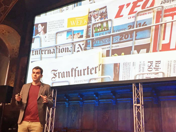 Adam Mosseri delivers a keynote at the International Journalism Fesitval in April 2017.