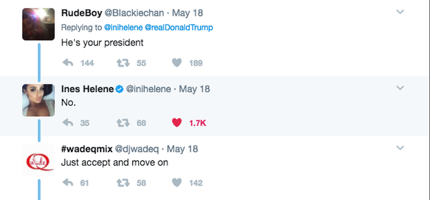 "As people tend to do in response to Trump, a few people jumped on Ines' tweet with some ""well...actuallys."""