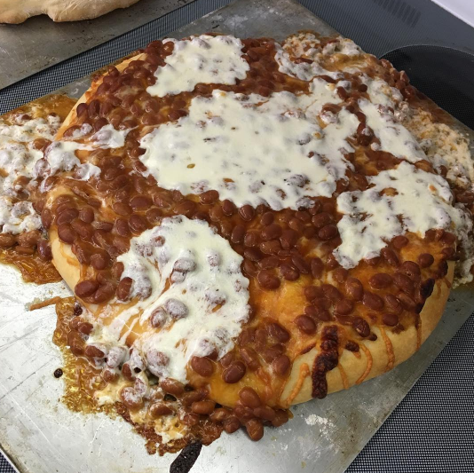 Baked bean pizza?! WHAT?!