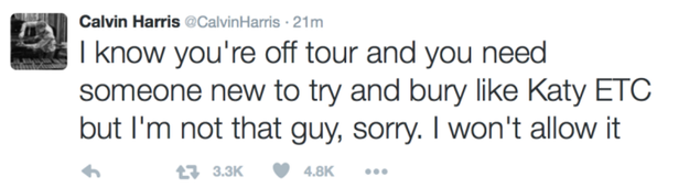 Then, when Taylor's ex Calvin Harris went on a Twitter rant after their breakup last year, he made this reference to Katy.