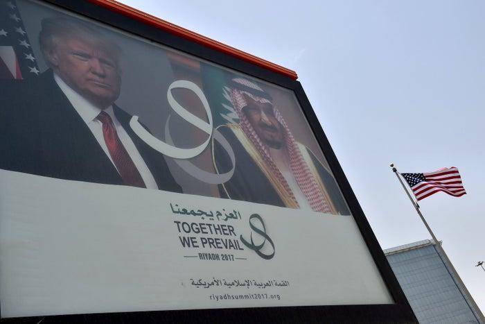 A giant billboard bearing awaits Trump in Saudi Arabia