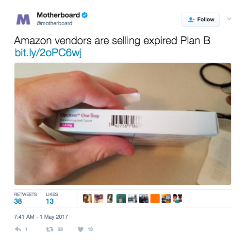 Vice's Motherboard reports that a 25-year-old former EMT who identifies himself as 'Jeremy A.' ordered six boxes of a generic form of emergency contraception called Opcicon One-Step, on Amazon from the vendor Opcicon. When he received his shipment about a week later, he noticed there was a sticker where the expiration date should've been printed and underneath was a patch where the date had been scratched off.After calling the drug company and inspecting another part of the box, Jeremy learned the pills had expired in July 2016, six months before he ordered them from Amazon. Other Amazon users who ordered Opcicon left similar complaints in the review section, claiming that the product had been tampered with and the expiration date was removed.