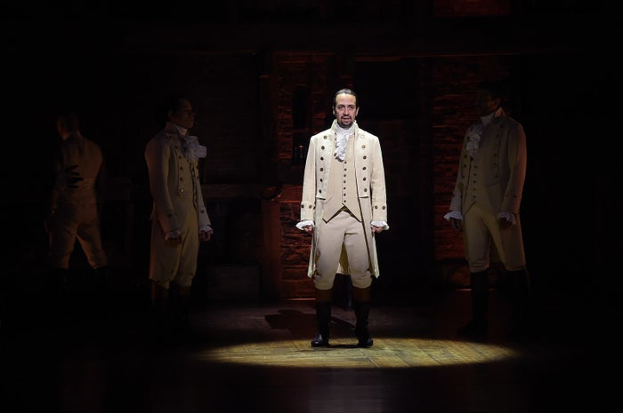 Lin-Manuel Miranda performs onstage during the Hamilton Grammy performance on February 15, 2016, in New York City.