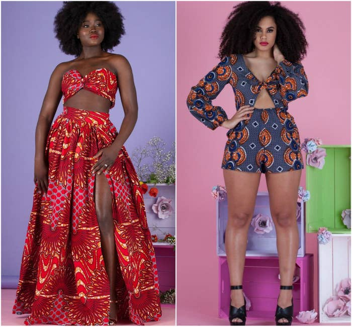 """If you're into prints, allow me to put you onto Grass Fields! The UK-based brand has some of the most gorgeous designs inspired by """"African heritage,"""" featuring bold prints and vivid colors. The line includes everything: matching sets, skirts, rompers and jumpsuits, tailored trousers, headwraps, and more. Prices are listed in GPB, but can be converted to USD and other currencies by clicking the currency dropdown (located under the menu icon on mobile and at the top of the page on desktop). Prices are around $33 to $130, and sizes range from S to 4XL.Left: Haji African Print Top, $37. Haji African Print Skirt, $64.Right: Hosa Playsuit, $46.See more."""