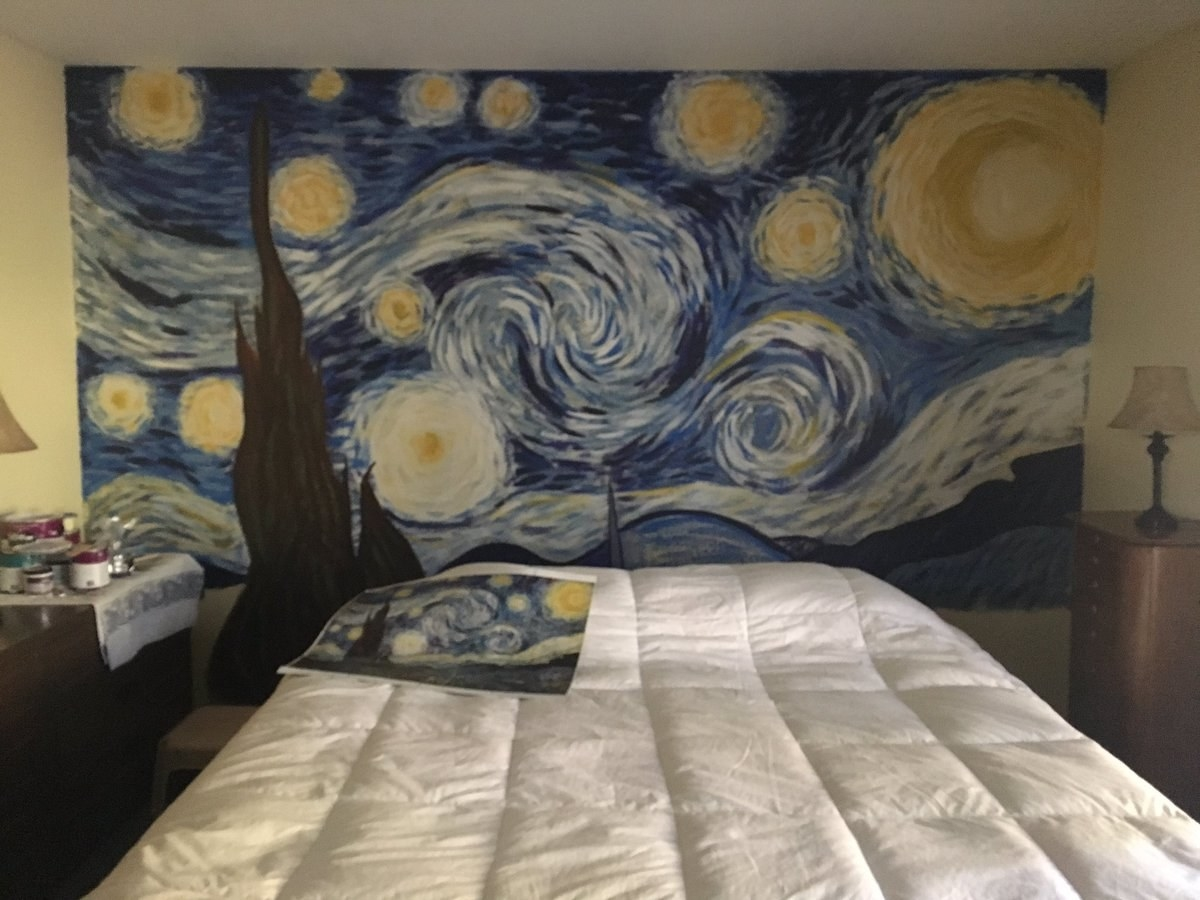 This Dad Painted Starry Night On His Bedroom Wall And It S