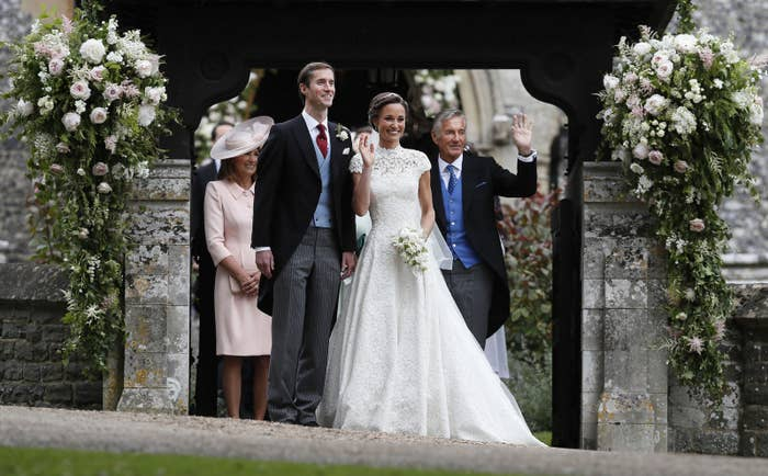 Pippa Middleton and her husband James Matthews leave St Mark's church in Englefield, Berkshire, following their wedding on Saturday