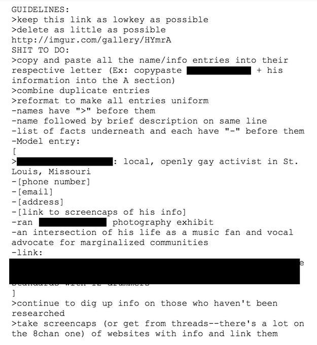 The document appears to be incomplete, but it has guidelines for how to add to it. It also makes a point of attempting to identify the religious affiliation and sexual orientations of people listed.