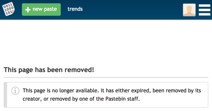 BuzzFeed News has reached out to Pastebin for comment.