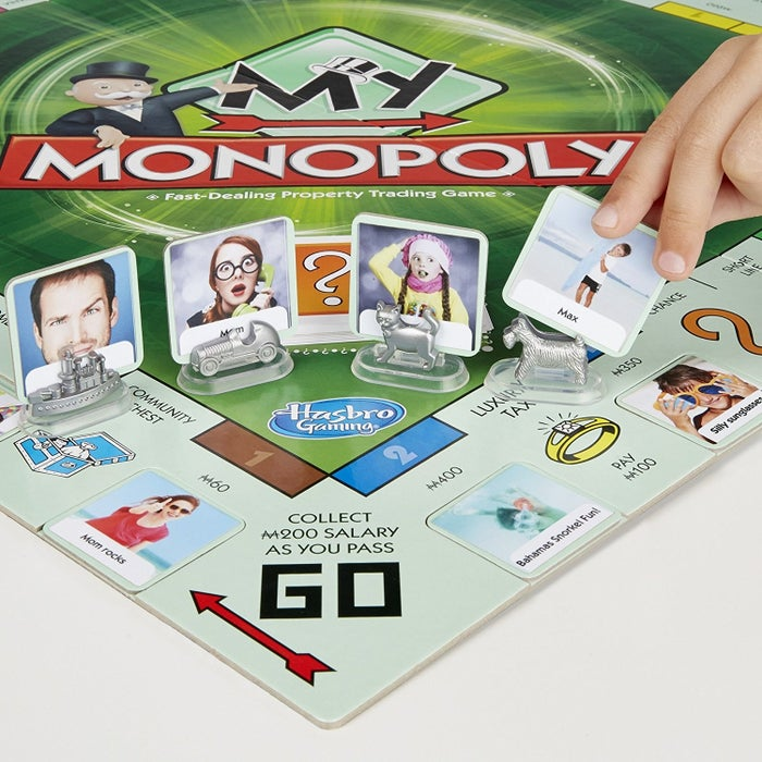 "Download the free My Monopoly app on iTunes or Google Play to print out customized stickers for tokens, streets, and game cards. Promising Review: ""What a fantastic spin on an old classic. This game allows you to print pictures on the paper provided to personalize your Monopoly board.So fun and so addicting."" —Jamie LynGet it from Amazon for $11."