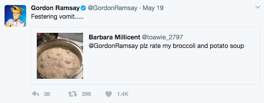 You probably know that Gordon Ramsay is the king of roasting people's culinary creations on Twitter.