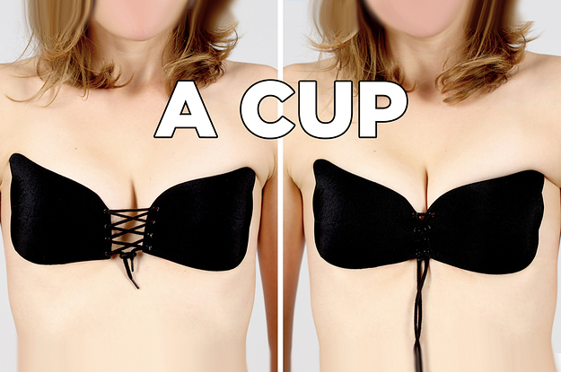 This Is What Those Pull Together Sticky Bras Look Like On Different Sized Bodies