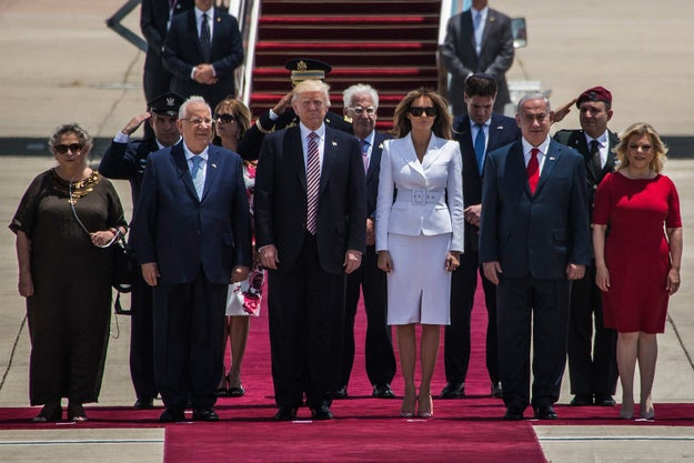They were greeted by Israeli Prime Minister Benjamin Netanyahu and his wife Sara, along with other officials.