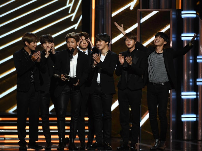 """Their win was supported by their extremely loyal and devoted fans, who call themselves their """"Army."""" The hashtag for the group, """"#BTSBBMAS,"""" was tweeted 300 million times alone before the awards, Soompi reported.""""We still cannot believe that we're standing here on this stage at the Billboard Music Awards,"""" band member Rap Monster said, accepting the award."""