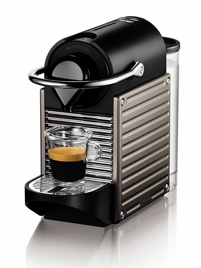 "It's only 4.3 inches wide, makes espresso, lungo, and larger espresso-based drinks, and comes with a variety of Nespresso pods so you can find your favorite blend.Promising review: ""I was a little apprehensive about this making an espresso that would be up to my expectations after years of haunting fancy coffee shops, but it totally does. I'm also partial to the occasional Americano, and the the retractable base makes this easy as well. The Pixie looks classy and modern and has a small footprint on the counter. One of my favorite Amazon purchases in a while."" —BrianPrice: $195.53"