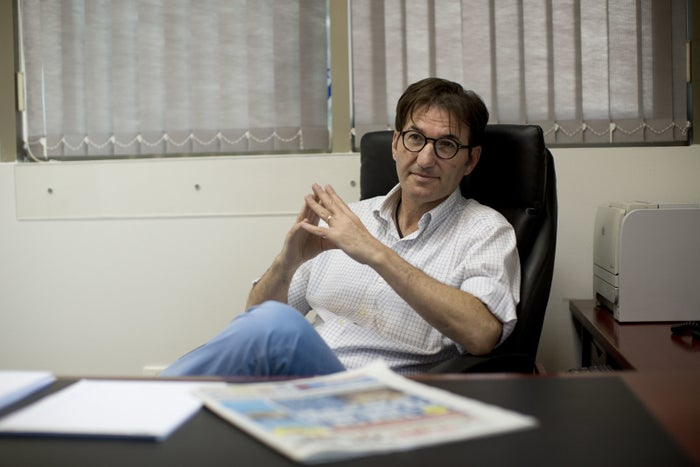 Boaz Bismuth, editor of Yisrael Hayom, in his office.