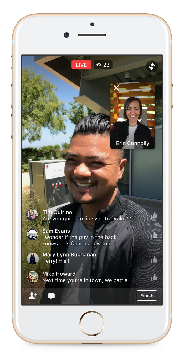 Facebook offered this feature to verified users last summer, but now everyone can do it. This solves a big problem with doing a live video yourself, which is like... doing it alone is kind of boring? And you might not have anything to say. Now, you can share the awkwardness of a live video and make it like your own mini talk show, even if your friend lives on the other side of the country.