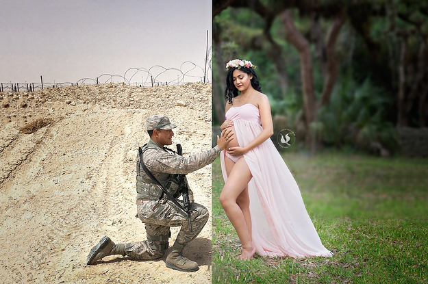 People Are Tearing Up Over This Woman's Maternity Photo Featuring Her Deployed Husband