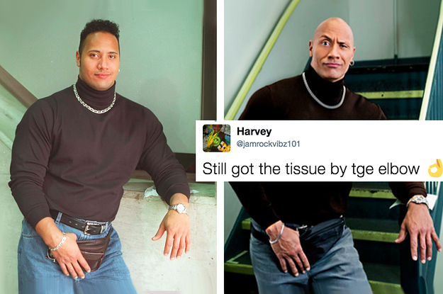 People Are Living For The Rock's Recreation Of His Iconic Fanny Pack Photo