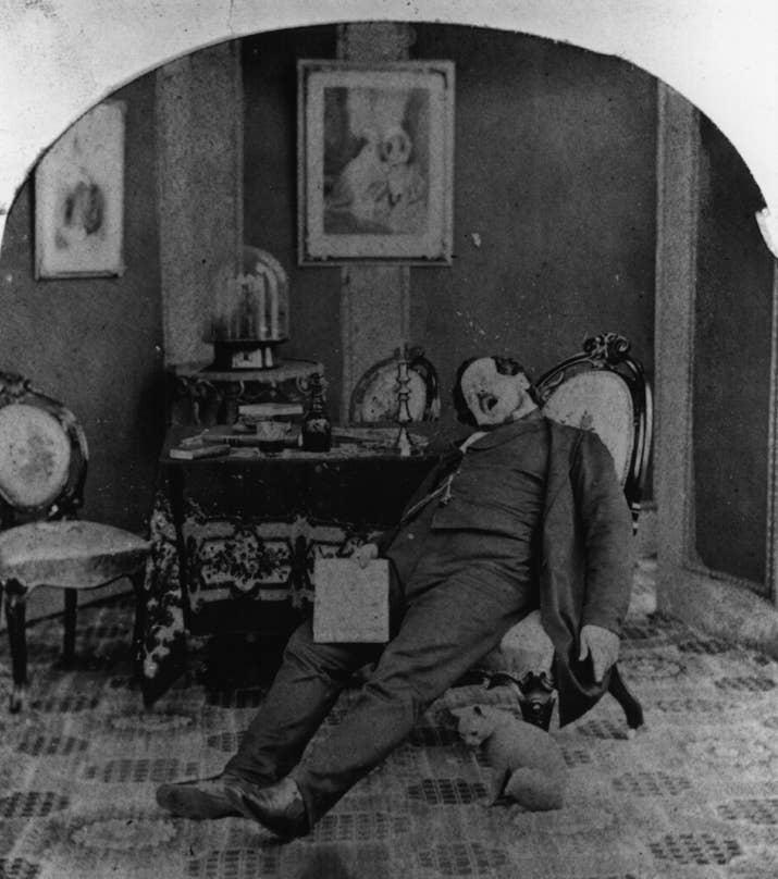 Un hombre profundamente dormido (aproximadamente 1860).