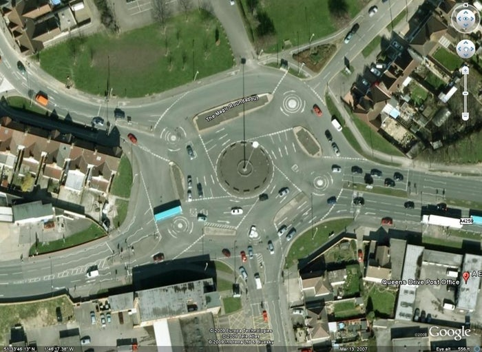 OK, this is a lie. But everyone knows its a nightmare, so ~most~ drivers are forgiving. And you have to marvel at the whoever decided to turn five mini roundabouts into one big one.