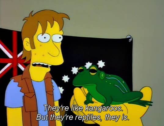 TV and movies seem to represent Australians as a little backwards and incoherent. Not sure why it's always Australia that's singled out, but this isn't a stereotype we really want to celebrate.As seen in: The Simpsons.