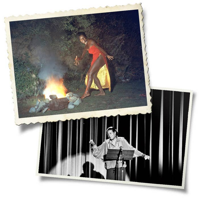 Top: Maya Angelou wears a red dress while dancing next to a fire in a promotional portrait taken for the cover of her 1957 album Miss Calypso. Bottom: Angelou reciting in London in the late 1980s.