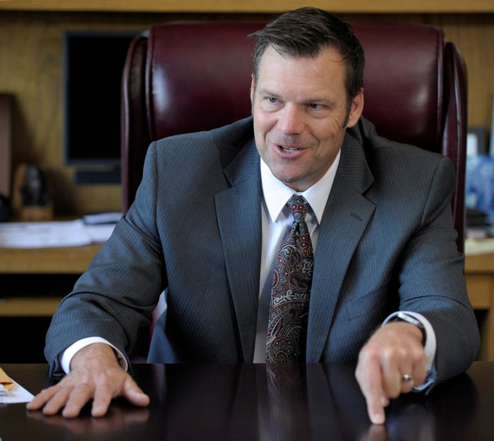 Kobach talks about the Kansas voter ID law that he pushed to combat what he believes to be rampant voter fraud in the United States in May 2016.
