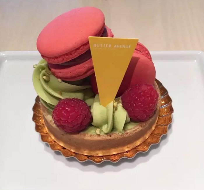 This was a raspberry pistachio tart. The pistachio cream was literal heaven! It was also topped with two(!!) raspberry macarons! —gilliang42192349f