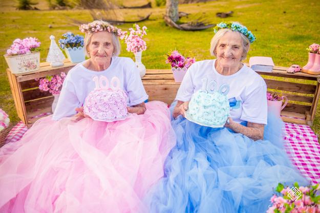 Meet Maria Pignaton Pontin and Paulina Pignaton Pandolfi, twin sisters who recently celebrated their 100th birthday with a seriously magical photo shoot.